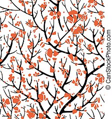 Tree branches with red blossom floral seamless pattern
