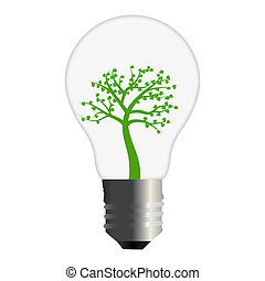 Tree Bulb Concept on a white background