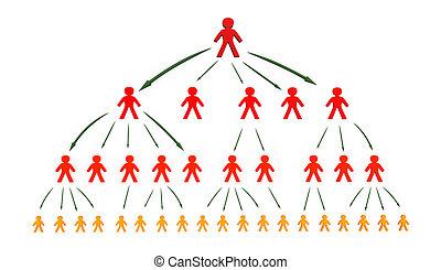tree business network concept, 3d illustration