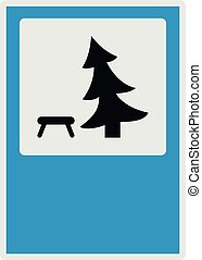 Tree by the bench icon, flat style.