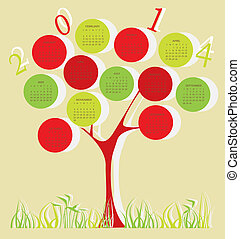 Tree calendar for 2014 year with red and green circles