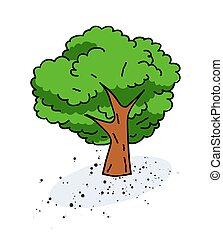 Tree cartoon hand drawn image