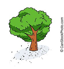 Tree cartoon hand drawn image