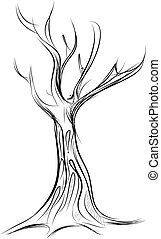 Tree cartoon icon isolated on white