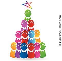 Tree Christmas people shape logo