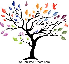 tree color birds