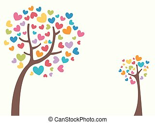 Tree Colorful Hearts Design - Conceptual Illustration...