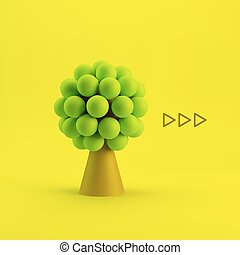 Tree. Concept for Business, Social Media, Technology, Network and Web Design. 3d  Illustration.