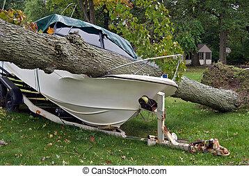 tree crushing power boat