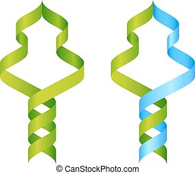 Stylised DNA tree icon concept of a DNA double helix growing into a tree or plant shape