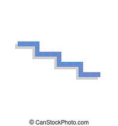 tree, dons, teken., vector., neon, blauwe , pictogram, met, cyclaam, polka punten