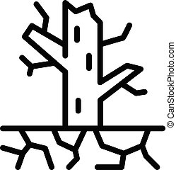 Tree drought icon, outline style