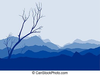 tree dry landscape scene background illustration vector