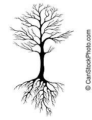 tree drawing black on white
