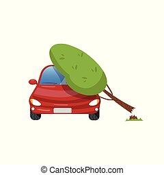 Tree falling on vehicle, car insurance concept cartoon vector Illustration