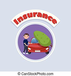 Tree falling on vehicle, car insurance concept vector Illustration, cartoon style