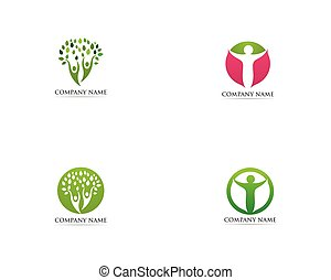 Tree family people logo vector template