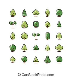 Tree filled outline icon set. Vector and Illustration.