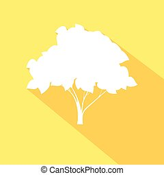 Tree flat icon with long shadow effect in stylish colors of web design objects. Isolated on yellow background. Vector EPS 10.
