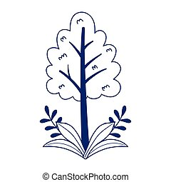 tree foliage branches leaves nature isolated icon design line style