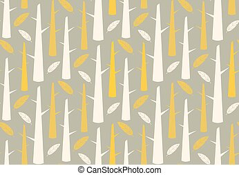 Tree forest with feathers, seamless pattern