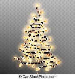 Tree formed garland lights on transparent background. EPS 10 vector