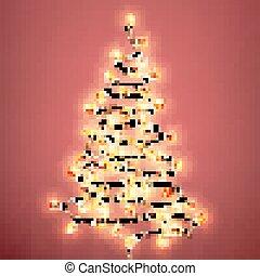 Tree formed garland lights on vintage background. EPS 10 vector