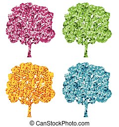 Tree four season stylized eco symbol concept