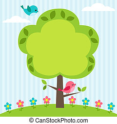 Tree frame - Background with birds, flowers and tree with...