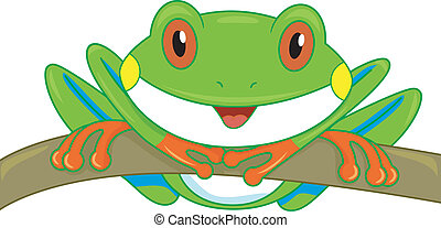 Tree Frog Branch - Illustration of a Cute Tree Frog Looking...