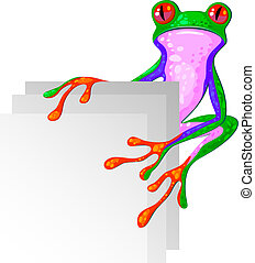 Tree Frog for the corner. Isolated.