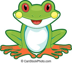 Cutesy Illustration of a Tree Frog Flashing a Wide Smile