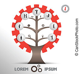 Tree gear with icons - Vector business concepts with icons /...