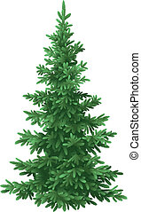 Tree, green Christmas fir tree, isolated on white background. Vecto
