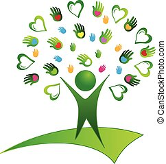 Tree green hands logo