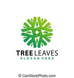 Tree Green Leaves logo Design vector illustration