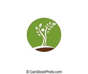 Tree green people identity vector logo template