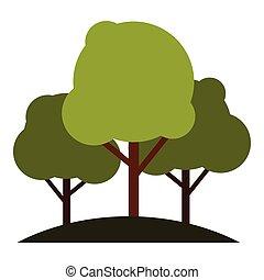 Tree group icon, flat style