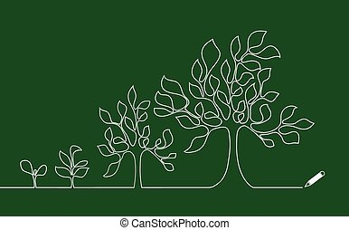 Tree growing continuous lines drawings.