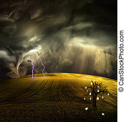 Tree grows fruit of concepts in stormy landscape