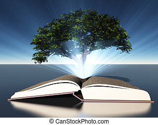 Tree grows out of open book