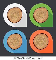Tree growth rings flat icons.
