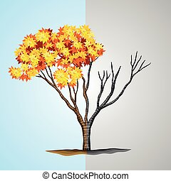 Tree half with leaves and half without