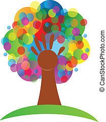 Tree hand bunches bubbles logo