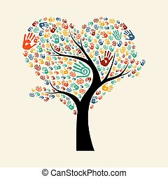 Tree hand illustration for diverse team help