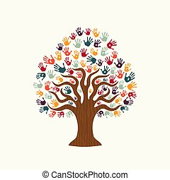 Tree hand illustration of diverse people team help