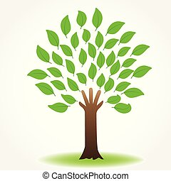 Tree hand nature logo