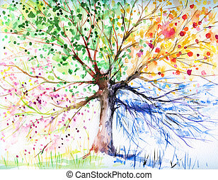 Hand painted illustration of four season tree. Picture created with watercolors.