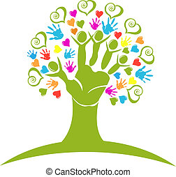 Tree hands and hearts figures logo - Tree hands and hearts ...