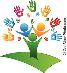 Tree hands and hearts figures logo vector image business...
